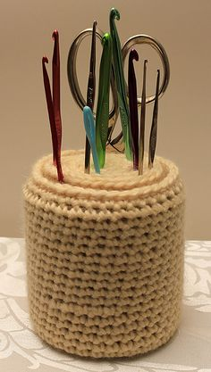 Crochet hook holder - could also be a felting needle holder :-)