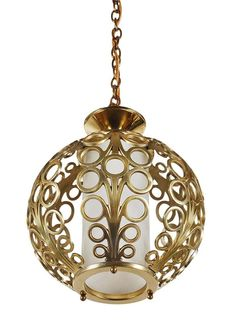 Suspended chandelier chain brass with glass OPALINE GREEN 19 CM E27