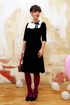 Black/white dress with red tights. Love it!