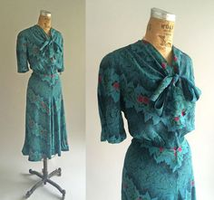 Vintage 1940s Turquoise Blue Printed Rayon Dress Floral Red and Green Short Sleeve