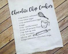 Toalla de saco de harina receta Handmade Ideas, Chocolate Chip Cookies, Baking Soda, Towel, Etsy, Flour Sacks, Towels, Recipe, Chocolate Chip Brownies