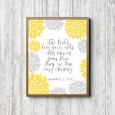 81d35023073 Yellow And Grey Wall Art - Dahlia Flower Scripture Nursery Print - God s  Mercies Bible Verse