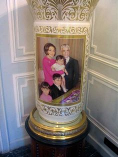 A Qajar revivalist style ceramic vase with the image of Iran's former Imperial Family (Pahlavi II, 1941-1980) on view in 2008 at Niavaran Palace Museum Complex, Tehran, Iran -  - Courtesy Homa Nasab for MUSEUMVIEWS  Please joinIranica Pictura on Facebook, Pinterest & Tumblr