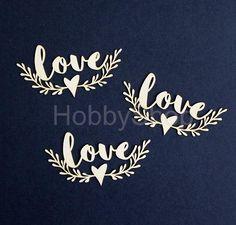 Výrez z lepenky  MR&MRS - výrez Love s ornamentom 3 ks