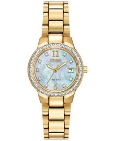 Citizen Women's Eco-Drive Silhouette Gold-Tone Stainless Steel Bracelet Watch 26mm EW1992-52D - A Macy's Exclusive