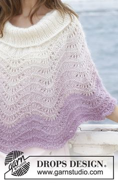 Poncho with wave pattern, worked top down. Sizes S - XXXL. The piece is worked in 1 strand DROPS BabyAlpaca Silk and 2 strands DROPS Kid-Silk.Ravelry: Lavender Wash pattern by DROPS design Poncho Knitting Patterns, Lace Knitting, Knit Patterns, Finger Knitting, Knitted Cape Pattern, Knitted Capelet, Crochet Shawl, Knit Cowl, Hand Crochet