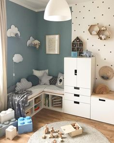 Stylish & Chic Kids Room Decorating Ideas – for Girls & Boys Uplifting kids room wall decor // kids room paint ideas Cool Kids Rooms, Kids Room Paint, Nursery Wall Decor, Baby Room Decor, Nursery Boy, Nursery Ideas, Kids Room Organization, Kids Room Design, Baby Boy Rooms