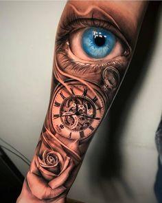 Forearm Sleeve Tattoos, Best Sleeve Tattoos, Sleeve Tattoos For Women, Body Art Tattoos, Cool Tattoos, Tattoo Sleeves, Simple Arm Tattoos, Hand Tattoos For Guys, Clock Tattoo Design