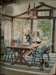 Rustic barn wood table. I like the hodge podge assortment of chairs.