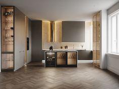 Kitchen Room Design, Home Room Design, Living Room Kitchen, Home Decor Kitchen, Bathroom Interior Design, Living Room Designs, Modern Kitchen Interiors, Modern Kitchen Cabinets, Contemporary Kitchen Design