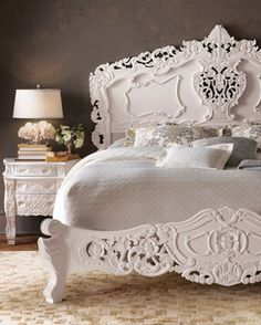 baroque bedroom furniture, maybe paint it black? Baroque Bedroom, Glam Bedroom, Home Bedroom, Bedroom Furniture, Bedroom Decor, White Furniture, Baroque Decor, Pretty Bedroom, Furniture Repair