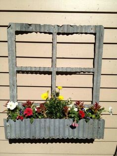 Corrugated tin flower boxes - without the fake window part , to set on edge of deck. Corigated Metal, Metal Roof, Metal Art, Metal Projects, Metal Crafts, Garden Projects, Rustic Crafts, Art Projects, Metal Garden Edging