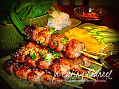 My childhood favorites. The flavors in this recipe just bursts as you bite into the Vietnamese Pork Sausage roll. Vietnamese Sausage, Vietnamese Pork, Vietnamese Cuisine, Vietnamese Recipes, Asian Recipes, Ethnic Recipes, Nem Nuong, Pork Skewers, Chicken Kabobs