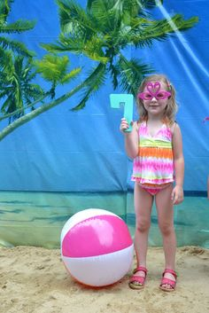Photo Op - Birthday Girl with a Beach Ball and the Number One!