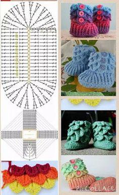Best 12 Tina's handicraft : slippers Crochet Baby Boots, Crochet Slippers, Crochet Poncho, Crochet Diagram, Crochet Patterns, Crochet Crafts, Crochet Projects, Crochet For Kids, Handicraft