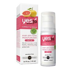 """Browse unbiased reviews and compare prices for Yes to Grapefruit Even Skin Tone Moisturizer SPF 15. """"I am able to use this moisturizer every day and it not only has not broken me out, but it has helped even out my skin tone, tone down redness, and moisturize."""""""