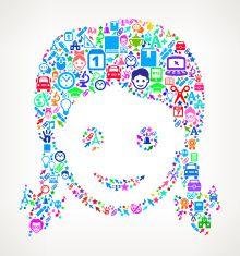 Girl Face on School & Education  Icon Pattern vector art illustration