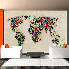Impression sur toile 120x80cm 3 parties image sur for Tableau carte du monde ikea