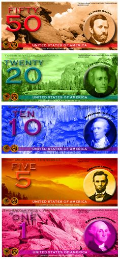 """Currency Redesign, I do NOT like these """"new bills"""" It looks like Obama's play money- our devalued currency  !!!!!!!!!!!!!!!!!!!!!!!!!"""