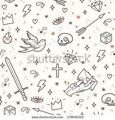 Old school tattoo seamless pattern. Cartoon vector tattoo elements in funny style: dagger, skull, flower, crown, heart, diamond, scull and s...