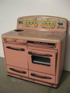 Marx Toy Stove Oven Tin Metal Pink Vintage