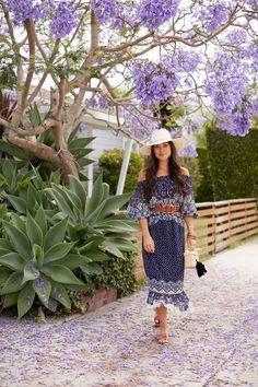 Jacaranda Tree in Bloom - Saloni dress // Lost and Found bandeau c/o // Hermes sandals// Nannacay bag c/o // Janessa Leone hat// Ashley Pittman bangles// Vintage belt  June 19, 2017