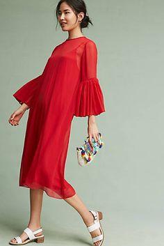 Chiffon Bell-Sleeve Dress