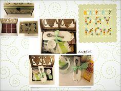 Feliz Dia Mami!   Kit caixa de chá:  Caixa de MDF para chá, acompanha divisórias. Caixa pintada com técnica de envelhecimento, pés de metal, aplicação de papel de scrapbook, detalhe de fita verde de poá marrom, fechadura envelhecida, parte de dentro revestida de tecido marrom de poá branco.  Xícara e pires de porcelana para chá, 4 sachês de chá, cookies, guardanapo de pano, geleia, torradas, mel, requeijão, espátula e colher.  Sua mãe irá amar tomar um chá no dia dela! #teatime #diasdasmaes…