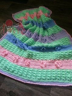 This beautiful textured blanket is worked all in one piece. Nothing to seam together or sew on later. This would be awesome in one solid color or in many different ones.