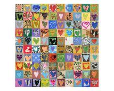 100 Valentine HEARTS mixed media assemblage Love art