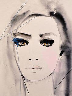 """Shaded Passage"" Fashion Illustration by Leigh Viner #Art #Illustration #Portrait"
