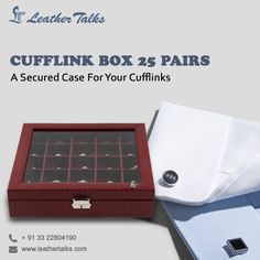 This luxury cufflink box is a wonderful item to possess. Easy close and clip function with a durable #leathercover. Features stitch cherry interior with 25 slots to keep your cufflinks organized. #leathertalks #leatherbox http://leathertalks.com/product/cufflink-box-25-pairs/