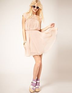 ASOS Skater Dress with Lace Insert--This makes me want to put on a comfy dress soooo bad!
