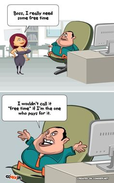 Asking the Boss for a holiday. I really need some free time to travel and relax. He should relax too. (Office work joke comics)