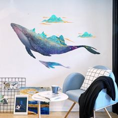Creative Large Starry Sky Whale Wall Stickers Sea Animal Sticker Modern Home Living Room Bedroom Mural Art Decoration Watercolor Room Wall Painting, Art Mural, Wall Art Decal, Decals For Walls, Beach Wall Decals, Animal Wall Decals, Bedroom Murals, Wall Drawing, Creative Walls