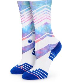 There's no need to sacrifice style for performance with these mixed stripe and sublimated galaxy print crew socks that feature a breathable moisture wicking construction and engineered arch support for premium comfort.