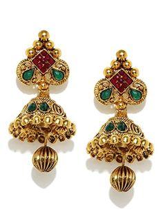 Zaveri Pearls Jhumka Earrings Traditional In Antique Gold Look Kundan Zpfk5037 Jhumki Ruby
