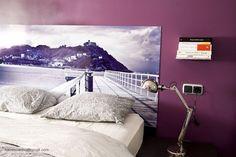 Handmade photo headboard with purple wall | Bedroom