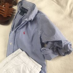Ralph Lauren button down Older style RL button up. Size 10 but also looks adorable over-sized with shorts and sandals! Ralph Lauren Tops Button Down Shirts