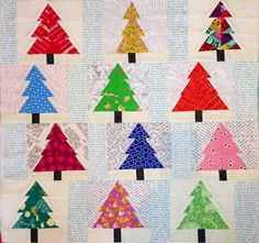 Quilting : Christmas trees, pieced patchwork pillow