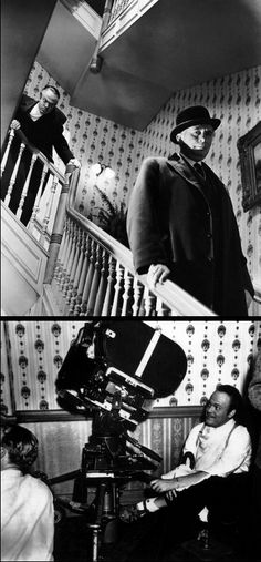 Top: Orson Welles & Ray Collins in Citizen Kane dir. Bottom: Welles setting up the scene at the foot of the staircase Film Festival Poster, Life Moves Pretty Fast, Cinema Theatre, Lights Camera Action, Orson Welles, People Of Interest, Great Films, Film Stills, Classic Films