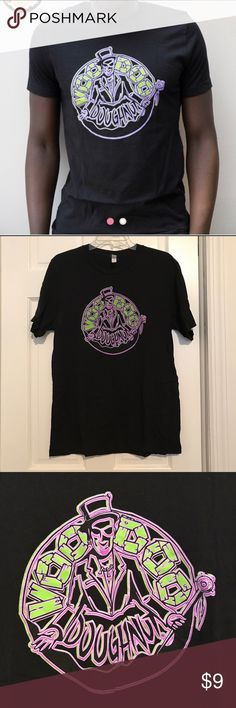 """⭐️Voodoo donuts 🍩 Black t-shirt size L 🍩 Voodoo Doughnut men's T-shirt with the Voodoo Doughnut logo printed on the front. There is nothing printed on the back.  Printed on Bella + Canvas unisex T-shirt 100% ring spun cotton  Size Large - chest size go fit 42""""-45"""" Shirts Tees - Short Sleeve"""