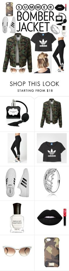 """""""Camouflage"""" by tiana-obrien ❤ liked on Polyvore featuring Victoria's Secret, LE3NO, adidas, Pandora, Deborah Lippmann, Lime Crime, Gucci, HEX and bomberjackets"""