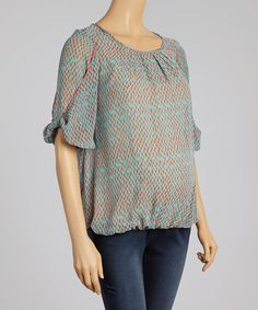 This QT Maternity Coral & Teal Ruched Maternity Top by QT Maternity is perfect! #zulilyfinds
