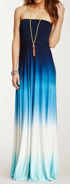 Strapless Maxi In Different Blue Combination