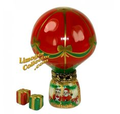 Christmas Hot Air Balloon with Mr. & Mrs. Claus Limoges Box#LİMOGES##CHRISTMAS##GİF#