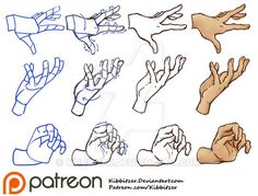 """Hands tutorial 2 by *Kibbitzer I'm redrawing the hands of my old reference sheets! I'm trying to improve them and to show you my step by step with the """"robot joints""""! I hope it will help you! if you are interested you can find the complete version Hand Drawing Reference, Gesture Drawing, Anatomy Reference, Design Reference, Drawing Tips, Anatomy Drawing, Pose Reference, Hands Tutorial, Hand Pose"""