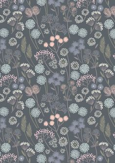 Hedgerow Flowers Floral on Grey Blue Cotton Fabric from Make Another Wish Collection by Lewis and Irene per fat quarter per metre FQ Iphone Background Wallpaper, Flower Wallpaper, Pattern Wallpaper, Pattern Drawing, Pattern Art, Pattern Design, Pastel Floral, Floral Prints, Floral Fabric