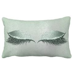 Silver Gray Lashes Glitter Mint Makeup Beauty Lumbar Pillow - home gifts ideas decor special unique custom individual customized individualized