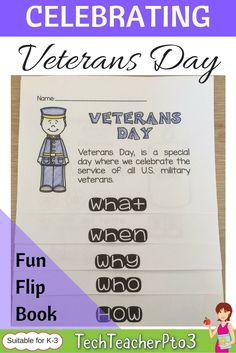 Celebrate Veterans Day in America with this handy and super easy to make flip book for kinder through to year 3 students. #veteransday #flipbook #teacherspayteachers #socialstudies #kindergarten